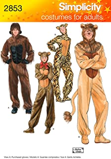 product image for Simplicity 2853 Gorilla, Lion, bear and Cat Sewing Pattern for Adult Men and Women by Andrea Schewe Sizes XS-XL