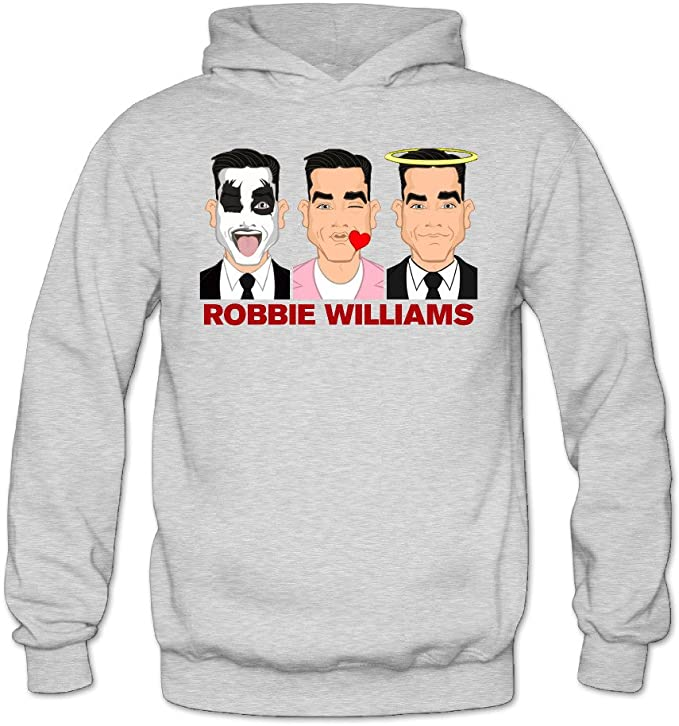 Robbie Williams Fashion Mens Hoodie Gray M