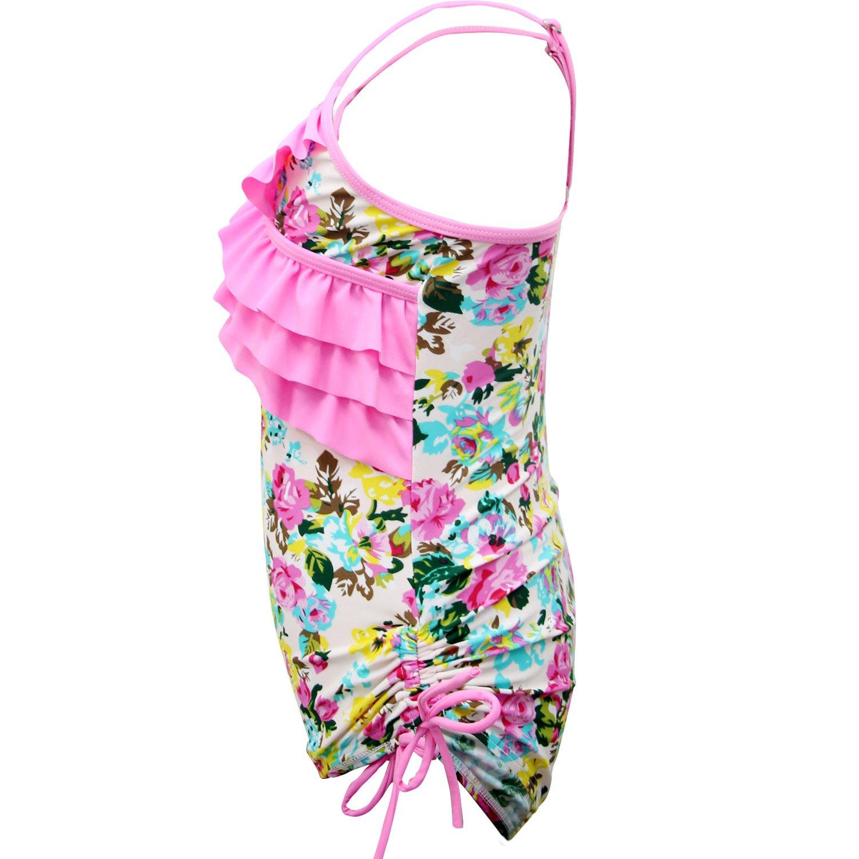 qyqkfly Little//Big Girls One Piece Adjustable Bathing Suit Modest Ruffle Swimwear 2Y-14Y Swimsuit FBA