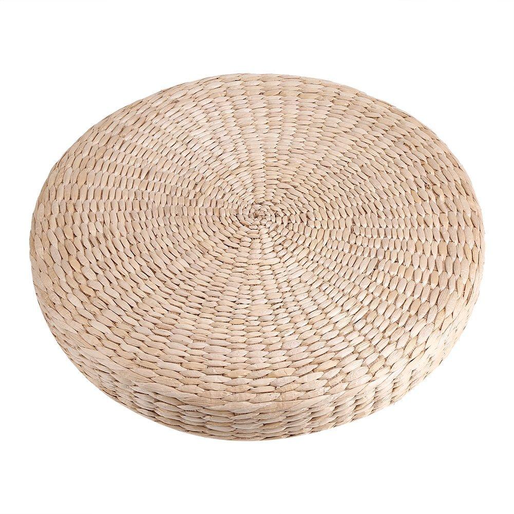 Zerodis 40cm Round Pouf Tatami Cushion Floor Cushions Straw Meditation Soft Yoga Mat