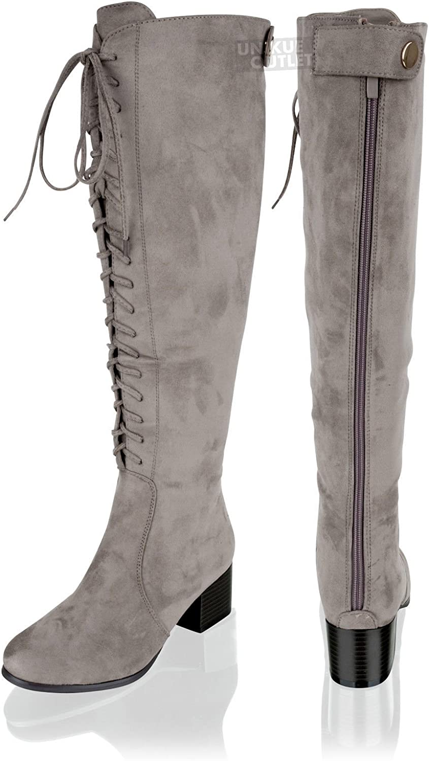 New Womens Ladies Knee High Lace Up Suede Wide Calf Mid Block Heel Boots Size