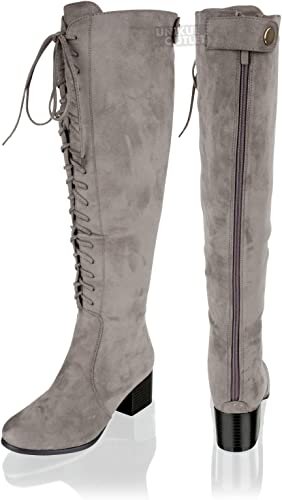New Womens Ladies Knee High Lace Up