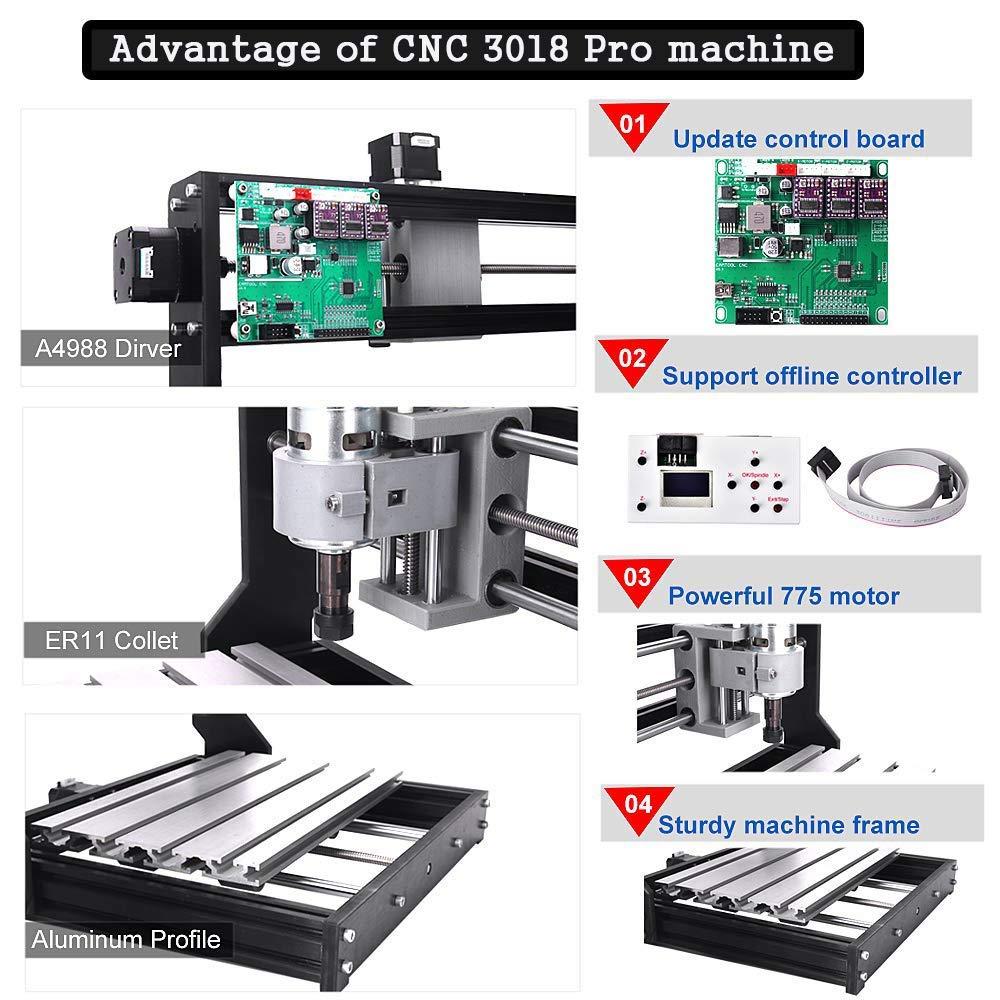 20PCS 3.175MM Router CNC Bits 4 juegos CNC Placas 5mm ER11 PCB Actualice la CNC 3018 Pro GRBL Control DIY Mini CNC Machine mcwdoit Wood Router Engraver con controlador fuera de l/ínea