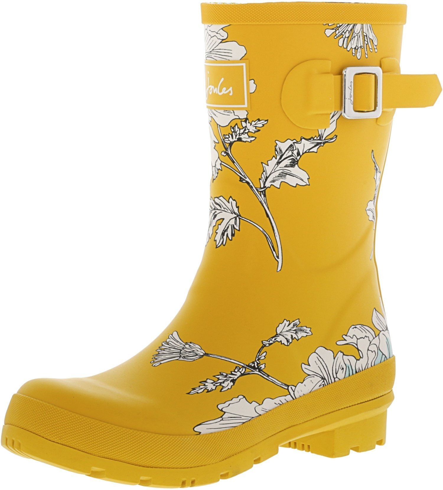 Joules Womens Short Printed Welly Rain Boots, Antique Gold Flora,7 B(M) US