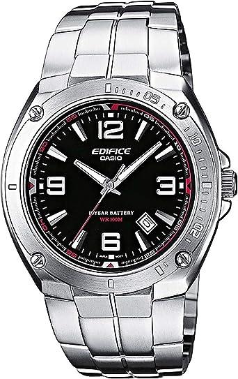 Casio EDIFICE Reloj en caja sólida, 10 BAR, Negro, para Hombre, con Correa de Acero inoxidable, EF-126D-1AVEF: Amazon.es: Relojes