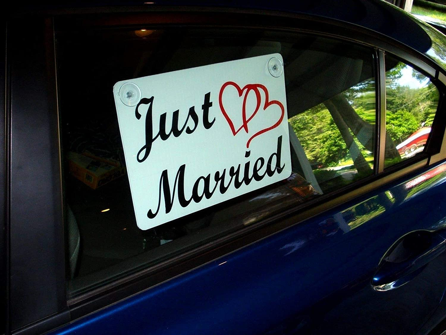"Signs & Plaques for Home Office - Garage and Other Business Decorations JUST Married CAR Window Sign 8""X12"" with Suction Cups (2 Color) w/Hearts Wedding"