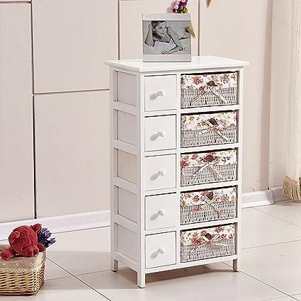 Ospi® shabby chic in legno e cassettiera cassettiera con 5 cassetti ...