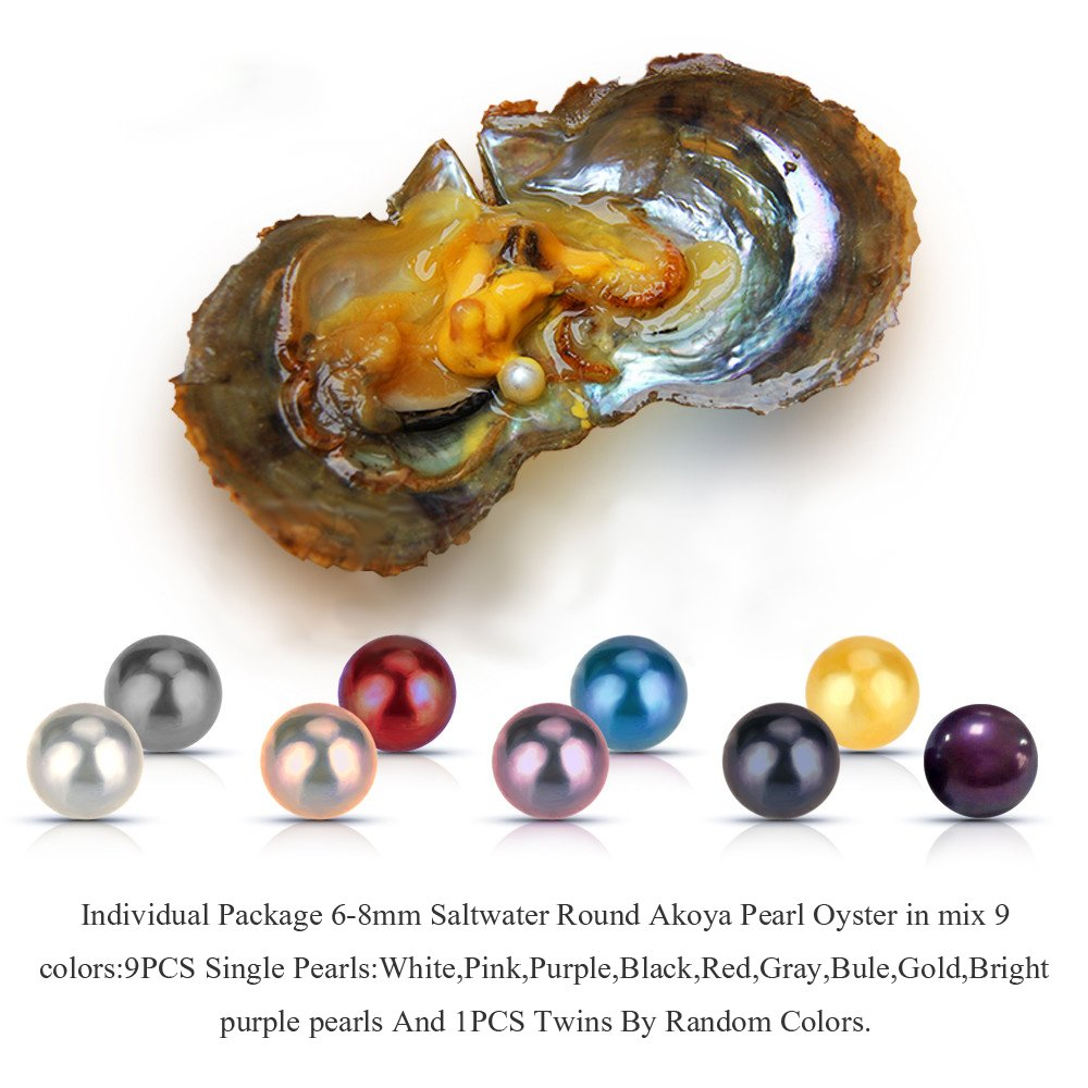 100PCS of Mixed 9 Colors Individual Packed 6-8mm Saltwater Round Akoya Cultured Pearl Oyster by NY Jewelry (Image #5)