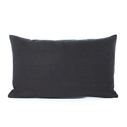 12 X 20 Solid Charcoal Gray Lumbar Oblong Throw Pillow Cover