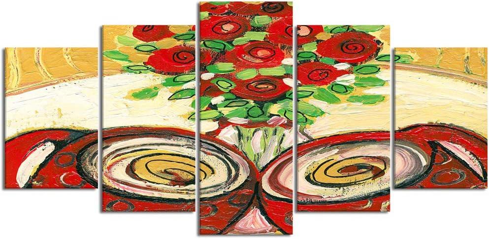 ZORMIEY Cuadro en Lienzo,5 Partes Pintura al óleo café amor pareja rosas bodegón rojo oro ocre moderno abstracto romance de Arte de Pared Decoración del Hogar para el Cartel Modular