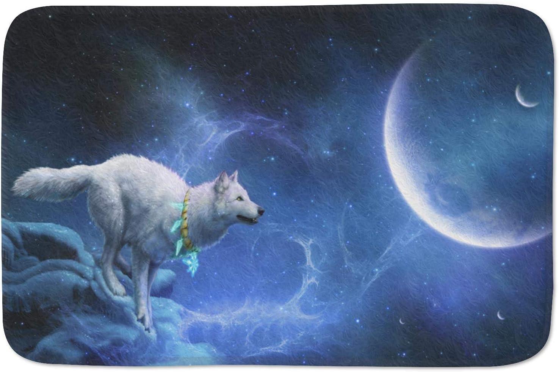 """QJ CMJ Cute Animal Doormats Door Mat Entrance Mat Floor Mat Welcome Mats/Outdoor/Front Door/Bathroom Mats Rugs for Home/Office/Bedroom Non Slip Backing (30"""" L x 18"""" W, Wolf in The Moonlight)"""
