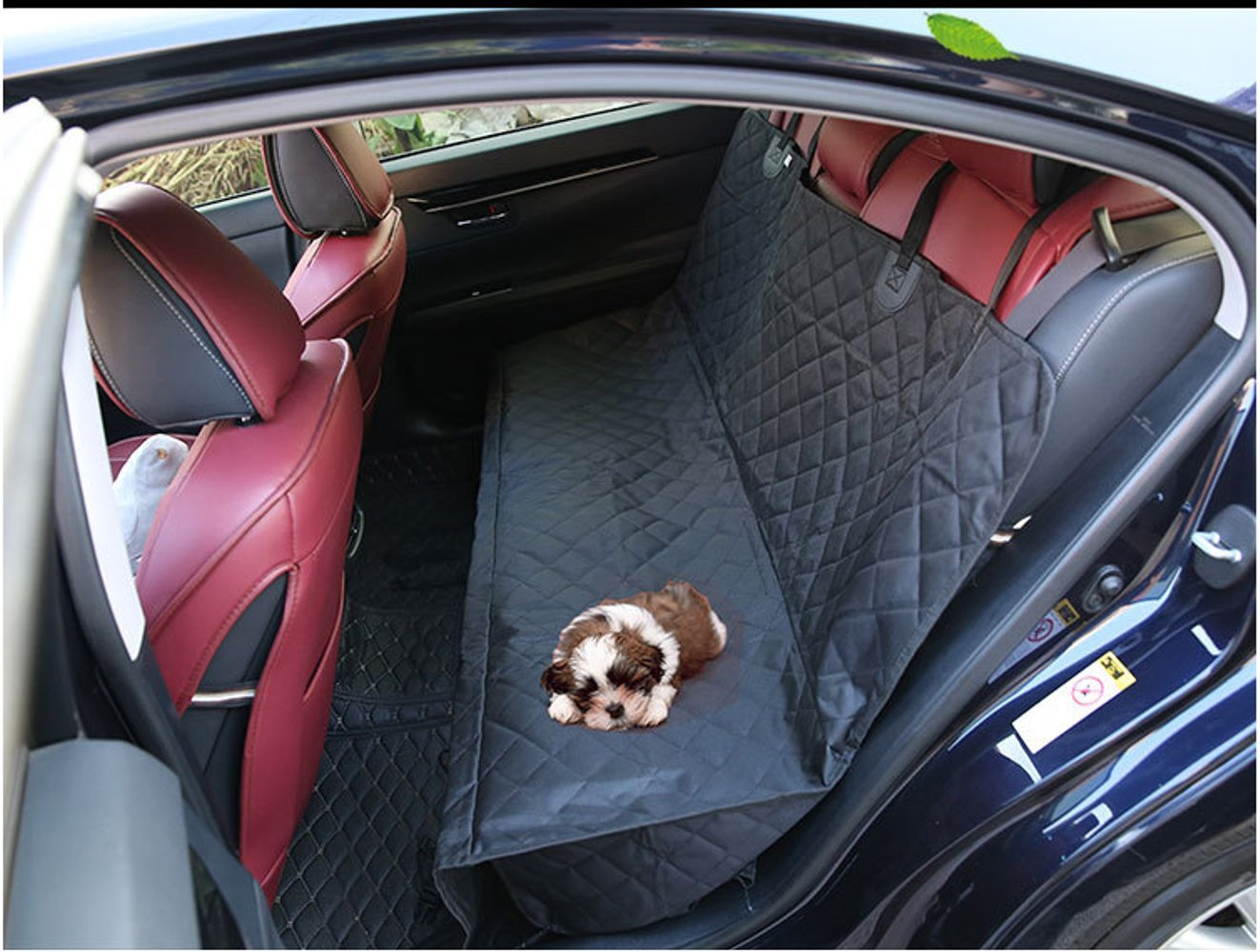 Dogs Cat Seat Covers Hammock for Car Trucks and SUV with Oxford Cloth Black Waterproof Washable Nonslip