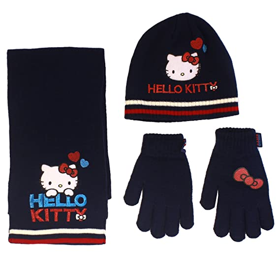 Set de Bufanda Hello Kitty Gorro y Guantes para ni/ña