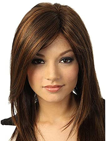 Amazon Com Brown Medium Length Straight Synthetic Hair Wigs For
