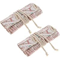 Prettyia Set of 2 Paint Brushes Storage Case Roll Up Pens Canvas Bag Organizer 36 Slots