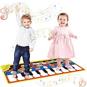 Vimpro Musical Piano Mat, Toddler Piano Keyboard Floor Playmat Childrens Kids Musical Mats Kids Tunes Playmat Walking Music Toys for Baby Girls 43.3'' X14.2''