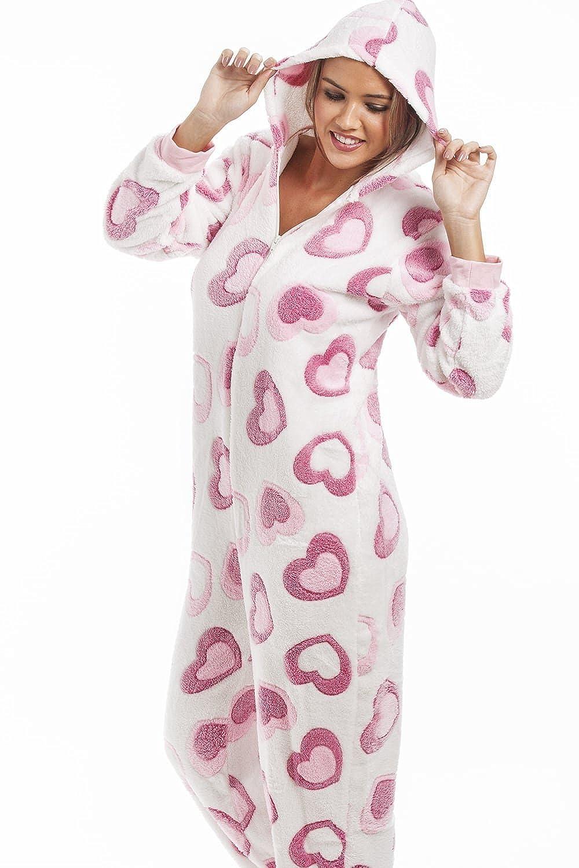 5c2708e9fe outlet Camille - Pijama de una pieza para mujer - Forro polar - Estampado  de corazones