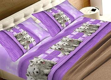 completo matrimoniale lenzuola PURO COTONE made in italy modello SPA LILLA