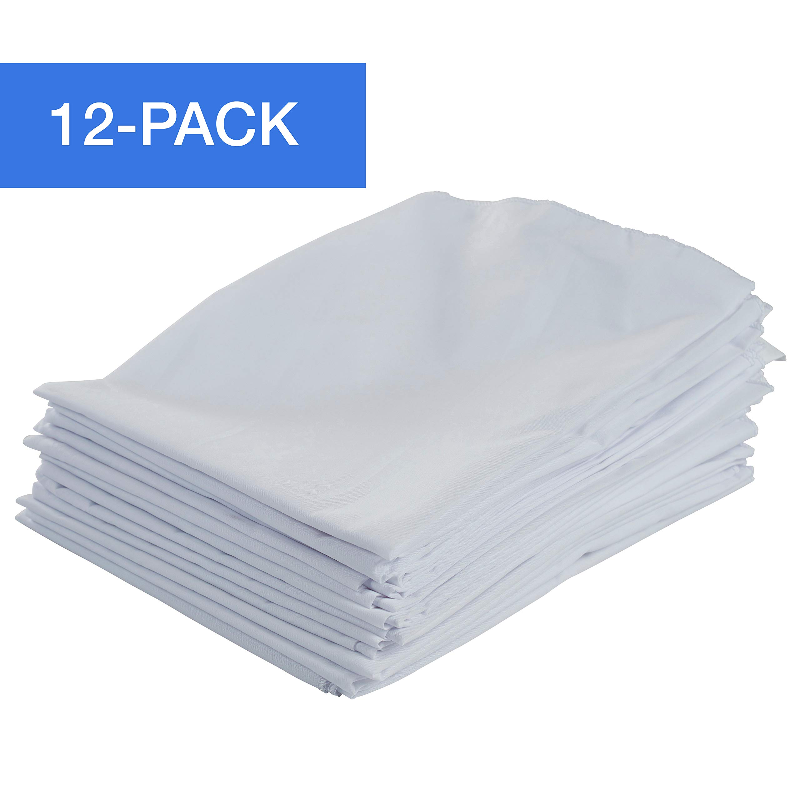 ECR4Kids 12-Pack Standard Cot Sheet with Elastic Straps, Standard Size Daycare and Preschool Cot Sheets for Rest Time, 50.5'' x 21.75'' - White by ECR4Kids