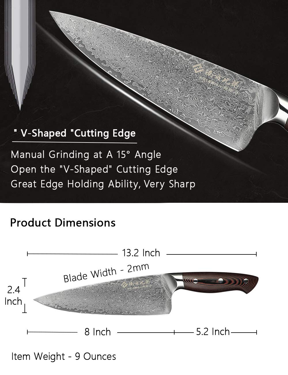 Damascus Chef Knife 8 Inch Professional Super Steel VG10 High Carbon Stainless Steel Damascus Knife Comfortable Ergonomic Wood Grain Handle Very Sharp and Easy to Re-Sharpen High-End Gift Box
