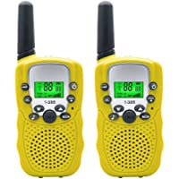 Kids Walkie Talkies,3 KM Long Range Walkie Talkie Set with 22 Channel Two Way Radios,Handheld Mini Walky Talky Speaker for Kids with Flashlight and LCD Screen,Yellow