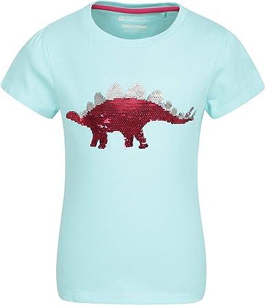 Mountain Warehouse Camiseta de Lentejuelas Star para niños - 100% algodón, protección UV, Ligera y Transpirable - para Senderismo y Viajes Verde Agua 5-6 Años: Amazon.es: Ropa y accesorios