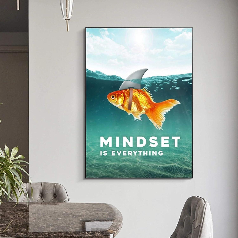Wandkunst gedruckt Mindset ist Alles Haifisch Fisch Bilder Motivierende nordische Poster Wohnzimmer Home Decor No Frame GUOCHEN Leinwand Malerei