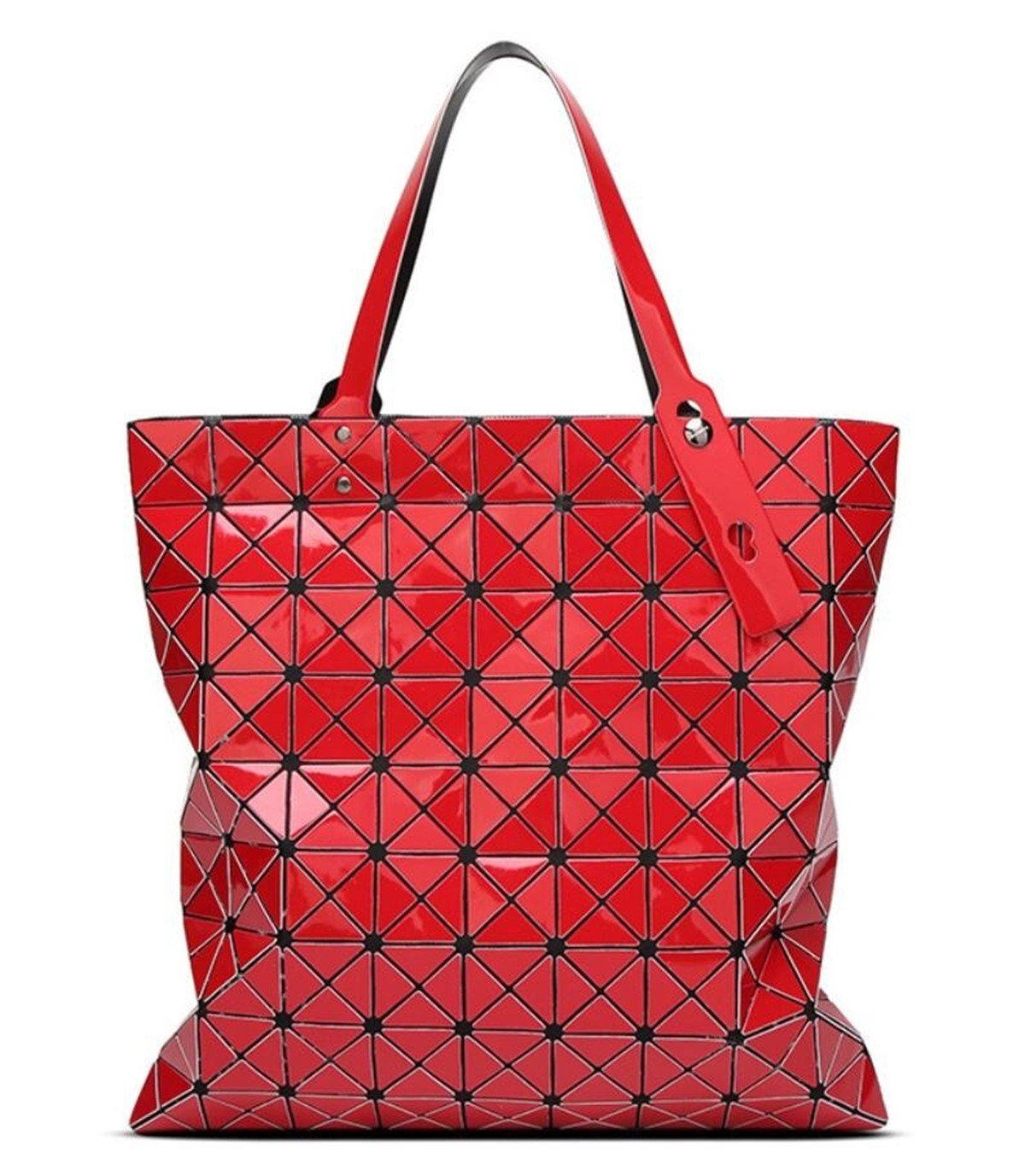 CDM product Kayers Sulliva Womens Fashion Geometric Plaid Tote Bag PU Leather Shoulder Bag Top-handle Handbags Large big image