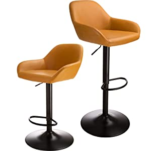 Glitzhome Adjustable Swivel Bar Stool Mid-Century Dining Kitchen Leather Counter Height Bar Stools Chairs Yellow Set of 2