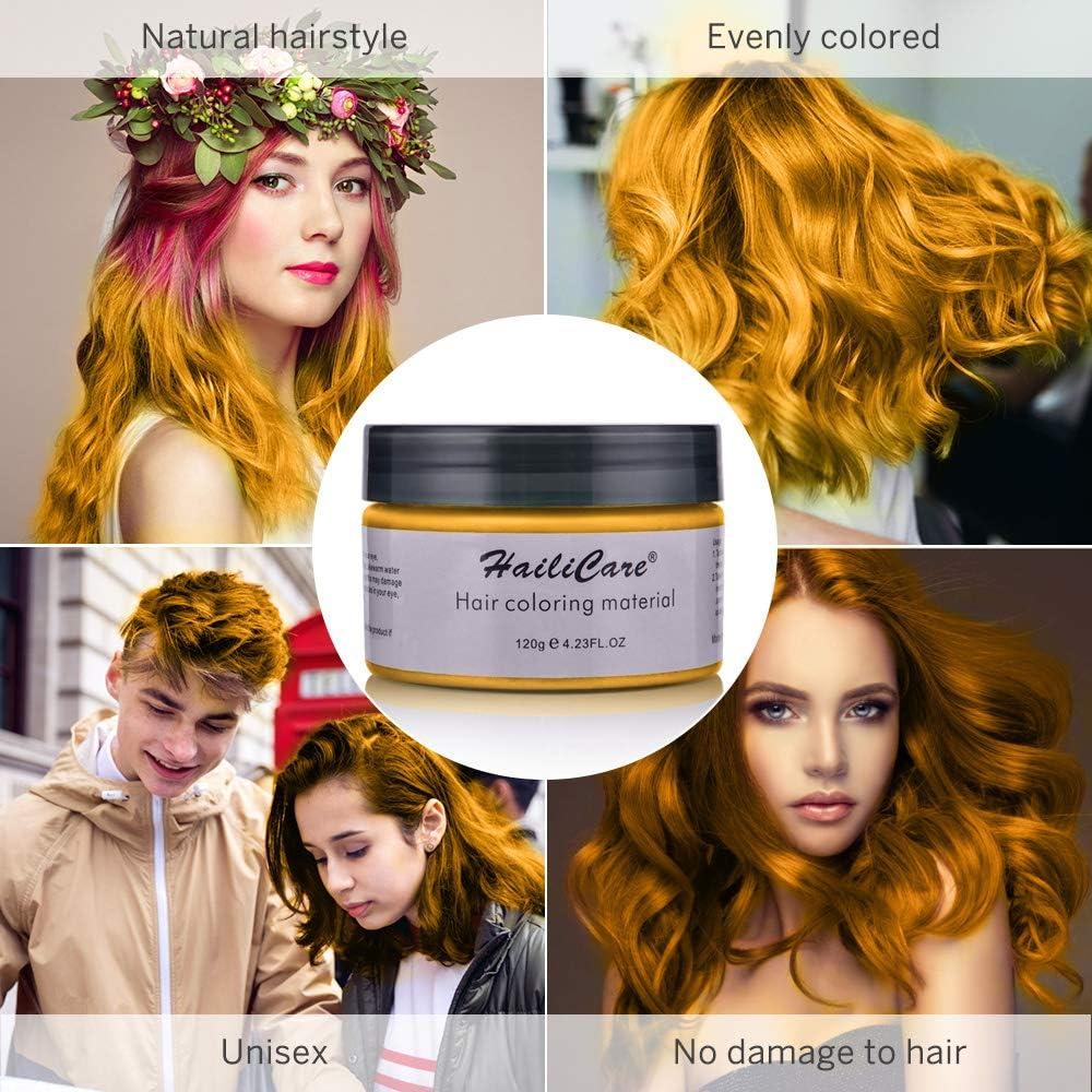 Cera Cabello Oro, HailiCare Crema Colorante Pelo Temporal para DIY Colorear y Modelar el Cabello de Moda para Hombres y Mujeres