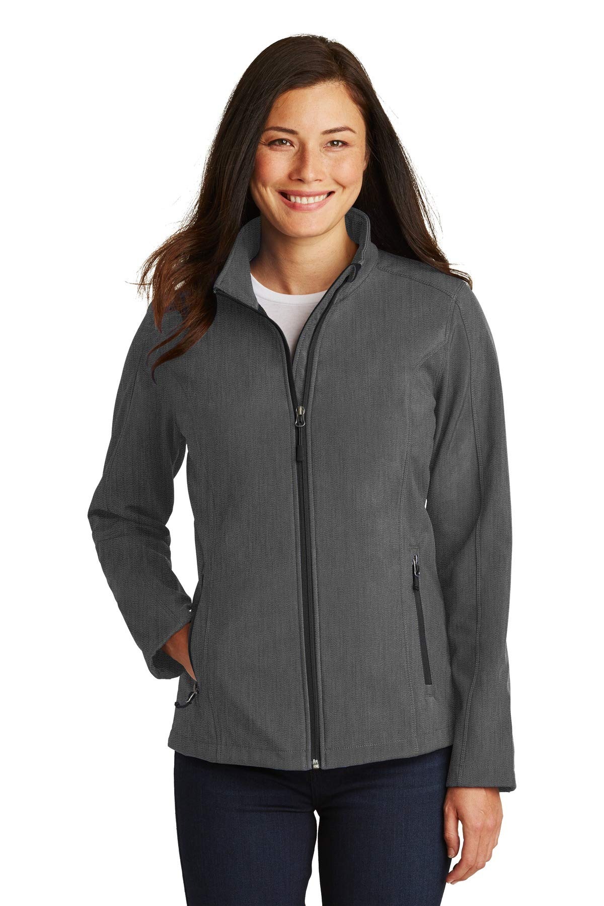 Port Authority Ladies Core Soft Shell Jacket L Black Charcoal Heather by Port Authority