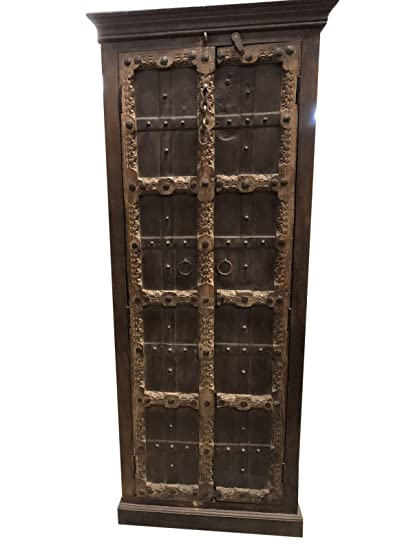 Mogul Interior Antique Indian Armoire Hand Carved Iron Nailed Brown Storage  Wardrobe Cabinet Conscious Interiors Design