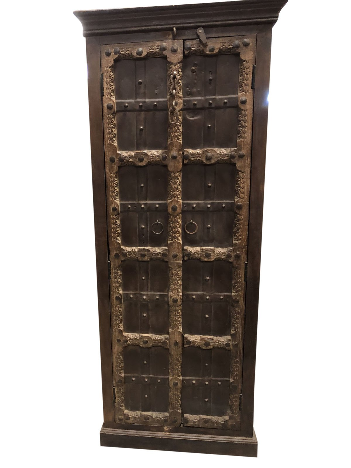 Mogul Interior Antique Indian Armoire Hand Carved Iron Nailed Brown Storage Wardrobe Cabinet Conscious Interiors Design by Mogul Interior (Image #1)