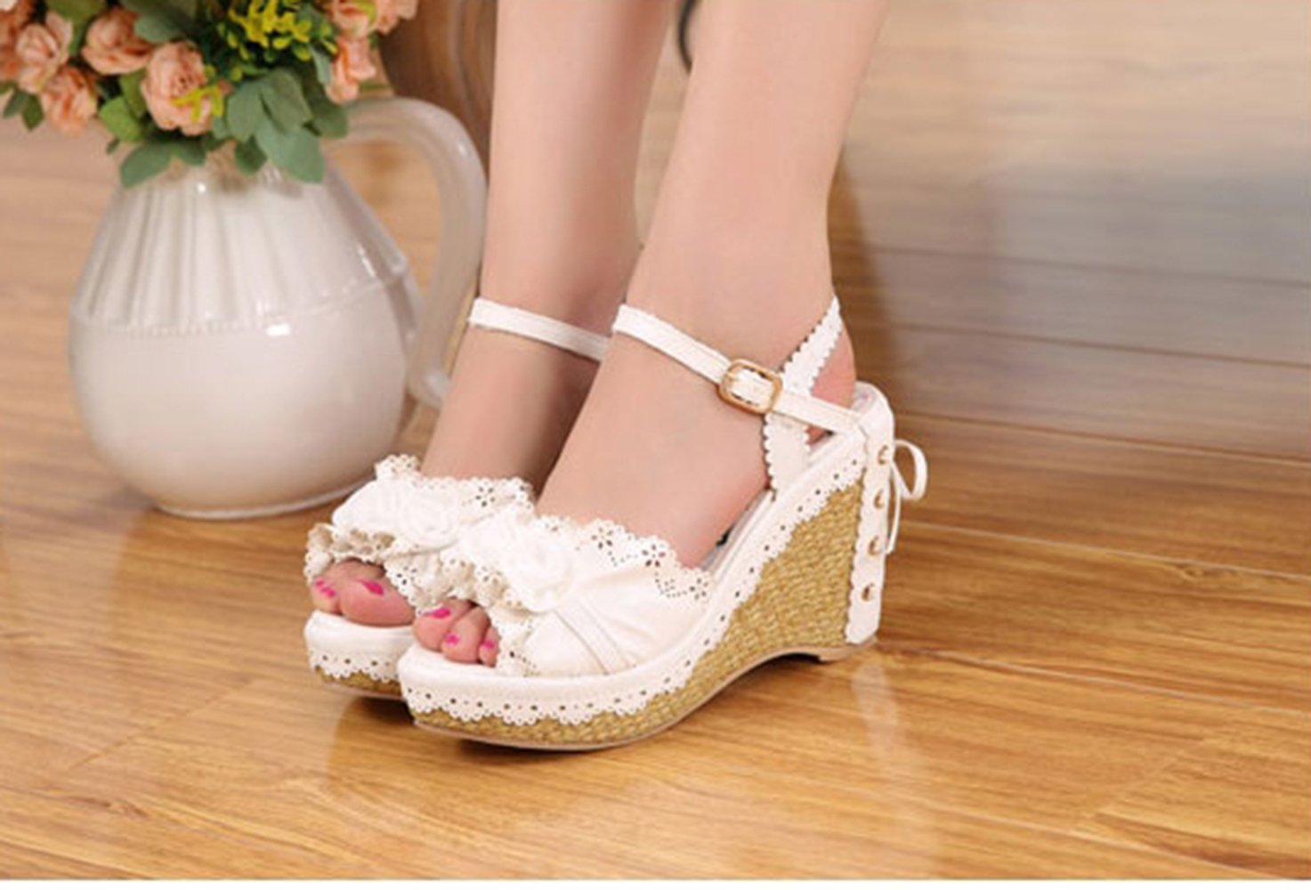 Nuoqi Womens Lolita Sweet Rose Slingback Flower Pink High Heel Slingback Rose Wedges Sandals B073B1G95N 7.5|Rose-white 745dc3