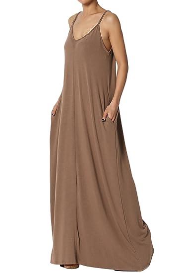 d39eb033fd8 TheMogan Women s V-Neck Draped Jersey Cami Long Maxi Dress with Pocket  Mocha M