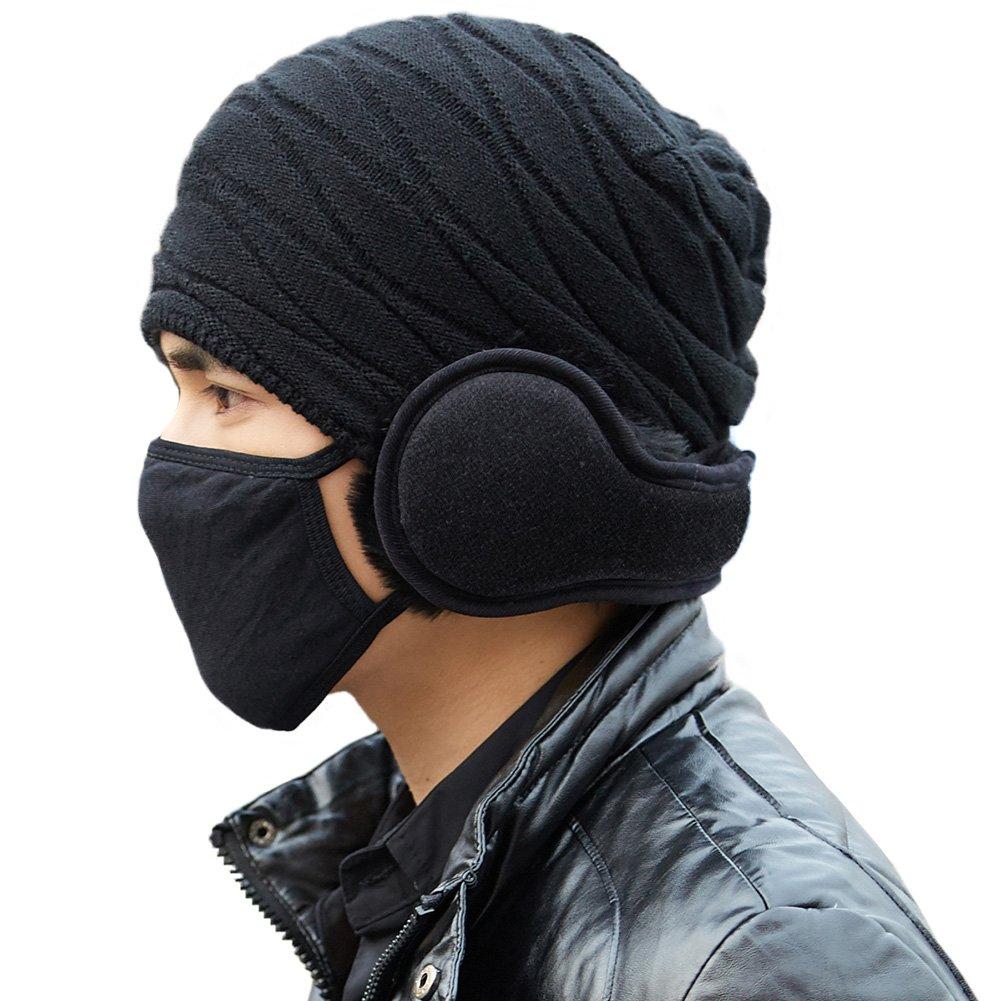 Siggi Unisex Wool Blend Winter Earmuff Black Ear Muff Wrap Band Ear Warmer Grip Earlap - Back Worn Earmuff CM68089-1
