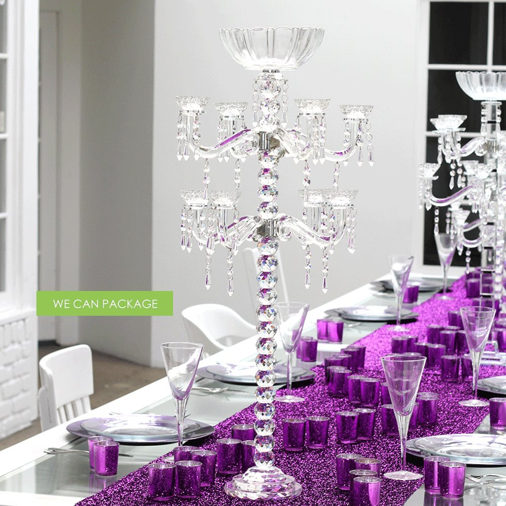 We Can Package Tall Crystal Candelabra Glass Ball Small Wedding Centerpiece by We Can Package