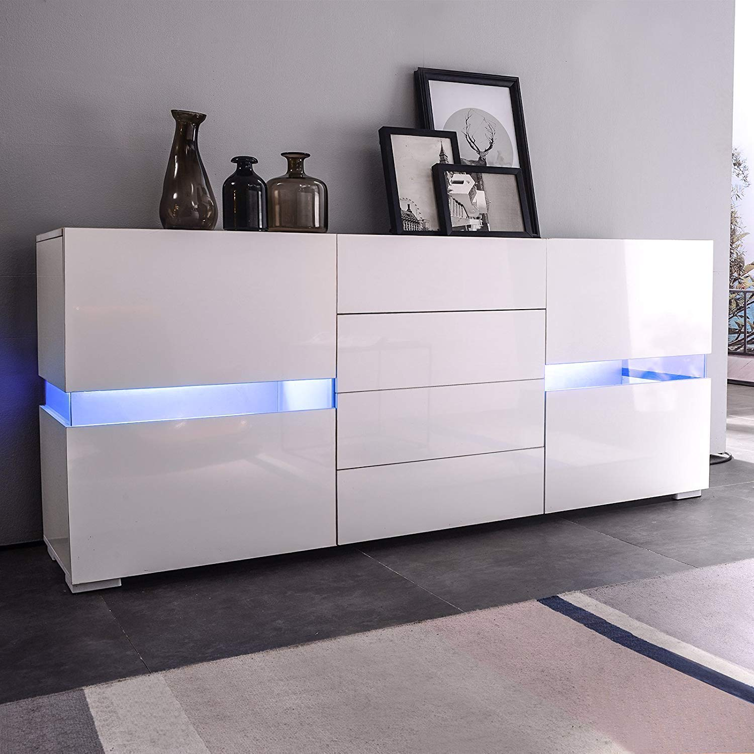 Mecor Sideboard Cabinet Buffet,Kitchen Sideboard and Storage Cabinet/TV Stand High Gloss LED Dining Room Server Console Table 2 Doors & 4 Drawers White