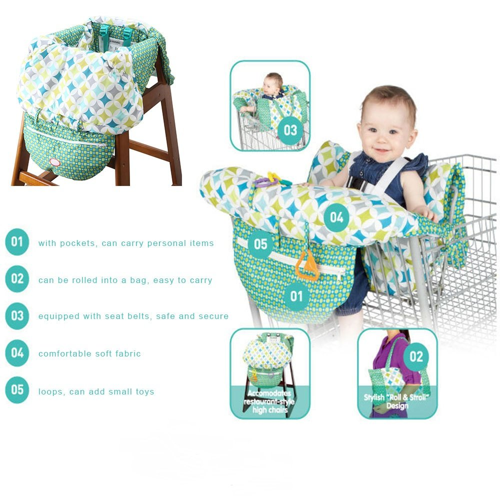 2 in 1 Shopping Cart and High Chair Cover for Baby and Toddlers - Folds into Pouch for Easy Carrying by HM Fulfillment (Image #2)