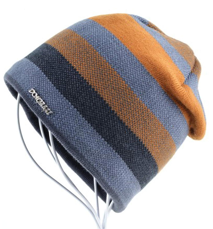 2018 Mens Hat Bonnet Winter Beanie Knitted Wool Hat Plus Velvet Cap Thicker Stripe Skis Sports Beanies Hats