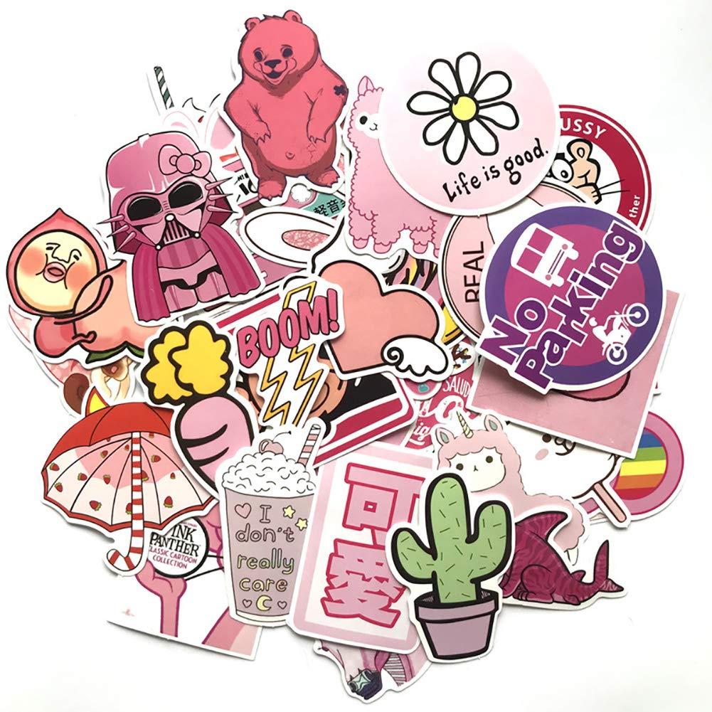 PoeHXtyy 50 PCS Sticker Pack Pink Graffiti Pegatinas vinilos Maleta monoPat/ín tel/éfono port/átil