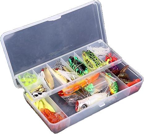 Lixada 110 Piezas Kit Señuelo de Pesca Artificial Caja de Pesca Cebo Duros / Suaves Incluye Giratorios, Cuchara, Tipo Popper, Tipo Crank: Amazon.es: Deportes y aire libre