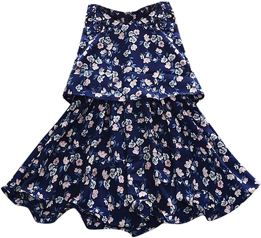 Jchen Baby Kids Little Girls Floral Flowers A-Line Sleeveless Party Princess Casual Beach Dress for 3-24 Months TM