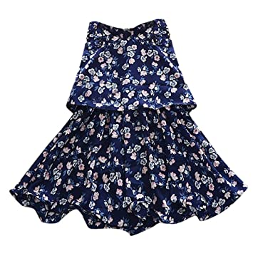 0d2425edee62 Cyhulu Little Girls Flower Printed Ruffles Lace Casual Summer ...