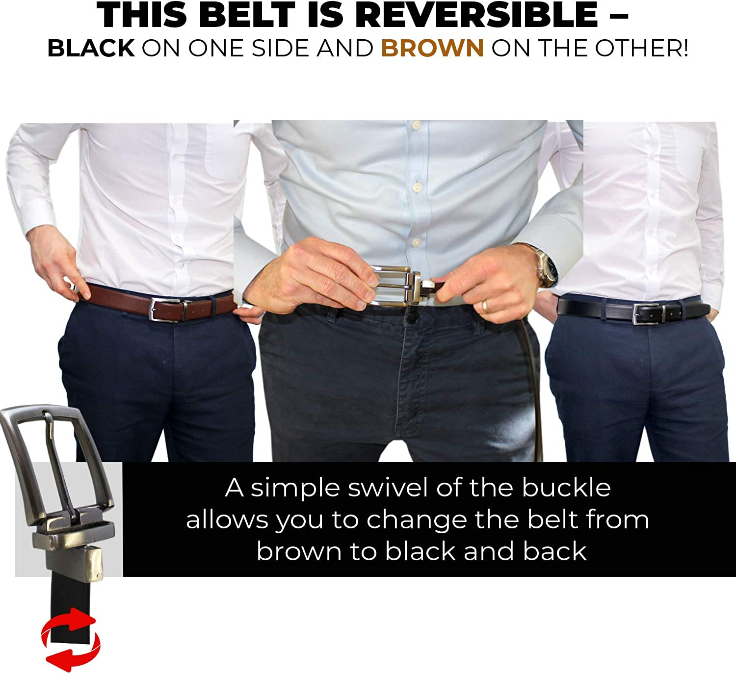 Reversible Leather Belt for Men Genuine Leather Adjustable Size with Reversible Buckles 2 in 1 Mens Dress Belt with Single Prong Aluminium Buckle Brown And Black Dress and Casual by Rallegra