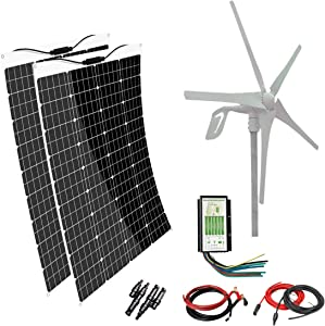 AUECOOR 640W Solar-Wind Kit 2 x 120W Flexible Monocrystalline Solar Panel+400W Wind Turbine Hybrid System for RV, Boat, Cabin, Trailer, Roofs, Off Grid System, 12V/24V Battery Charging