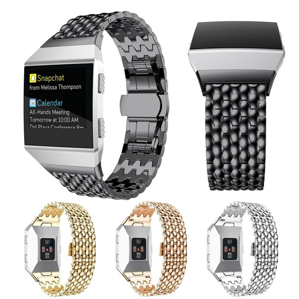 For Fitbit Ionic Band, Gotd Luxury Stainless Steel Replacement Sport Band for Fitbit Ionic Smart Fitness Watch Large Small Men Women (Black)