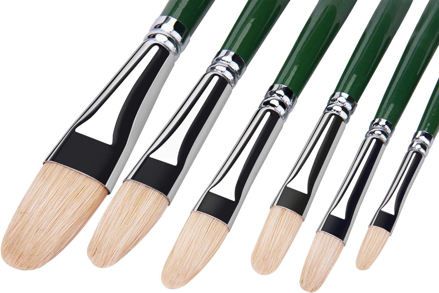Oil Acrylic Watercolor Paint Brushes 100% Natural Chungking Hog Hair 6pc Filbert Paint brush Set