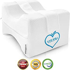 Live Well Secrets Orthopedic Knee Wedge Pillow - Leg Pillows for Sleeping, Back Pain Relief, Pregnancy Support Pillow, Body Pillow for Sleeping, Contoured Leg Pillow, Knee Pillow with Strap