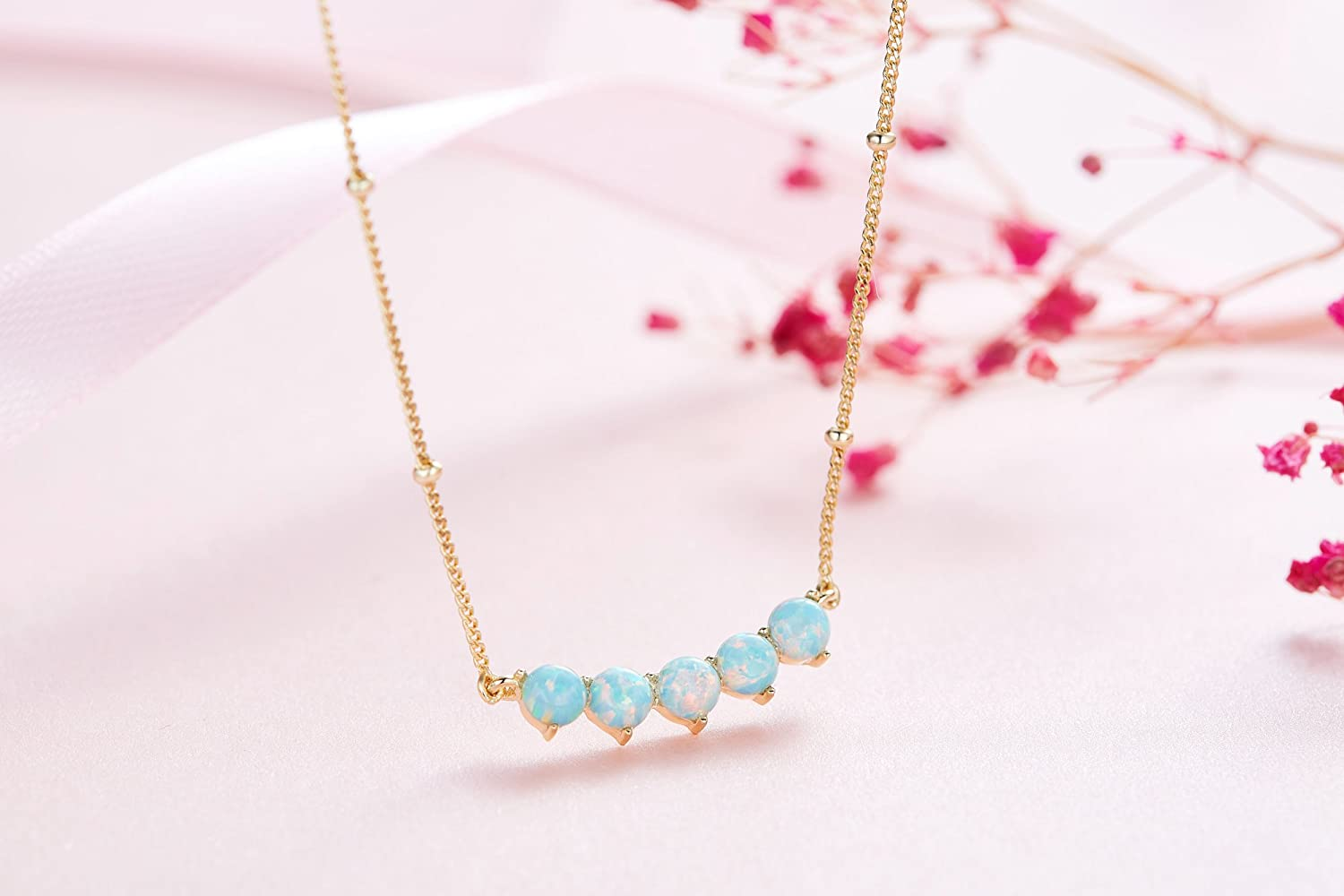 Vogzone Created Opal Pendant Necklace for Women Rose Gold Plated Clavicle Necklace for Girl Birthday Gift